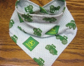 Triangle Bandana Dribble BIB using JOHN DEERE Flannel Fabric Baby Feeding Bibs
