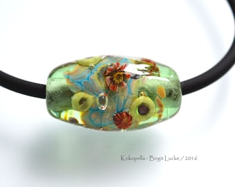 Lampwork Glass Bead flower meadow, artist focal handmade Glasbead