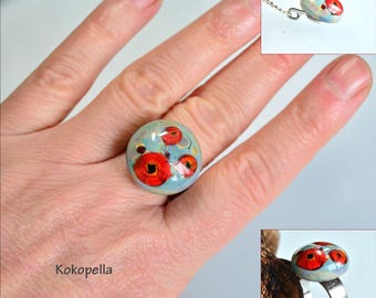 Ringtop Lampwork, Ranunculus - Poppy, Artist, Glass ring, Exchange ring, Change, Design by Kokopella