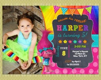 Trolls Invitation, Trolls Party, Trolls Birthday, Trolls, Trolls Birthday Invitation, FREE Thank you Card included