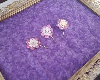 Pink and White Flower Bobby pin (Set of 3)