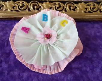Vintage Gingham and Ruffle fabric Flower ABC Pin