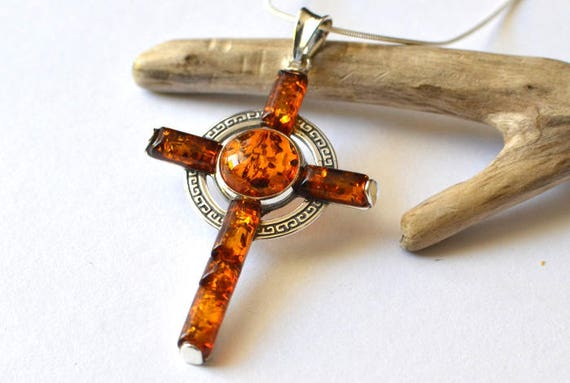 Amber cross necklace mens amber pendant silver amber cross like this item mozeypictures Gallery