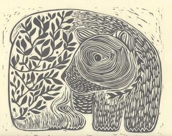 Black Bear- Hand Printed Linoleum Block Print