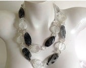 ON SALE 20% OFF Long Chunky Beaded Necklace, Rutilated Quartz Flat Slabs, Clear Quartz Chips, .925 Sterling Silver Clasp