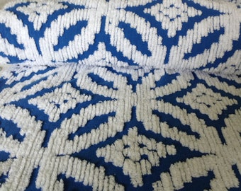 SALE...Blue Chenille Wedding Ring Vintage Bedspread Fabric...12 x 18""