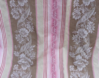French Vintage Ticking , Antique Ticking , 19th Century Linen , Flowers , Taupe, Shabby Chic, Rare Ticking , French Textile, French Country