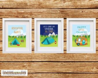 Camper Printable | Camping Printable Wall Art | Nursery Wall Art | Glamping Printable | Glamping Decor | Camping Decor | Adventure Awaits