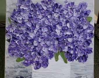 SALE Original  Impasto Purple Lilac   Flowers  Palette Knife Technique  Small Acrylic Painting.