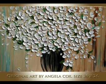 Original Modern  White  Flowers  Bouquet  Heavy  Impasto Texture Palette Knife Acrylic   Painting .Made2Order..