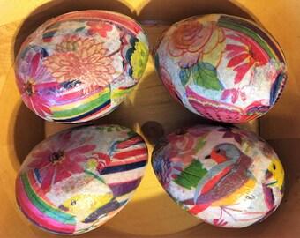 Birds and Butterflies Handmade Decoupage Paper Mache Easter Eggs Tissue Paper: Set of 4