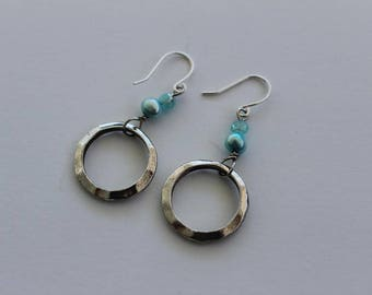 Light Blue Pearl and Silver Hoop Earrings