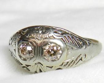 Engagement Ring Pink Diamond Ring Champagne Old European Cut Diamond Ring Toi Et Moi Ring Antique Diamond Ring  1920s Art Deco Ring