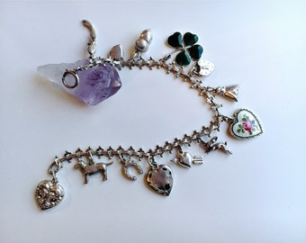 Vintage 1940's-1950's sterling silver 13 lucky charm bracelet David Anderson Guilloche Enamel Puffy Heart Animal Insect Shamrock Charms