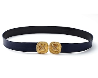 vintage 1972 MIMI DI N navy blue leather belt with gold statement cross buckle