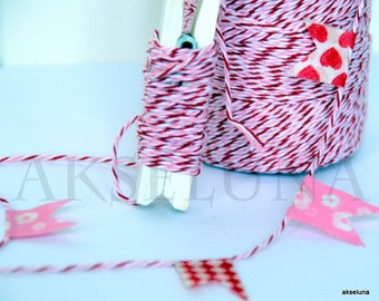 Twine Baker's Twine fine HABs - (Pink/White/red) - 10 m ep.1mm