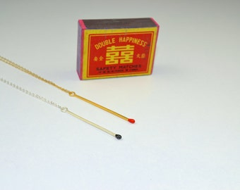 Gold plated Sterling silver Matchstick Necklace - long.