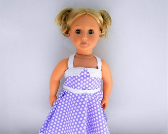 Purple Polka Dot 50's Style Halter Dress for American Girl and 18 inch dolls