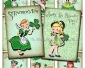 Saint Patrick's Day Printable Collage Sheet, Digital Download, For DIY Vintage Tags, Labels, Cards.  Instant Download,