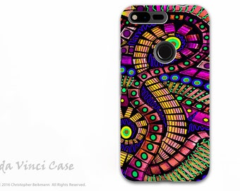 Colorful Abstract Google Pixel Tough Case - Dual Layer Protection - Infrared Tentacles - Octopus Inspired Art Pixel Case