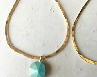14k gold fill hammered teardrop with sleeping beauty turquoise earrings