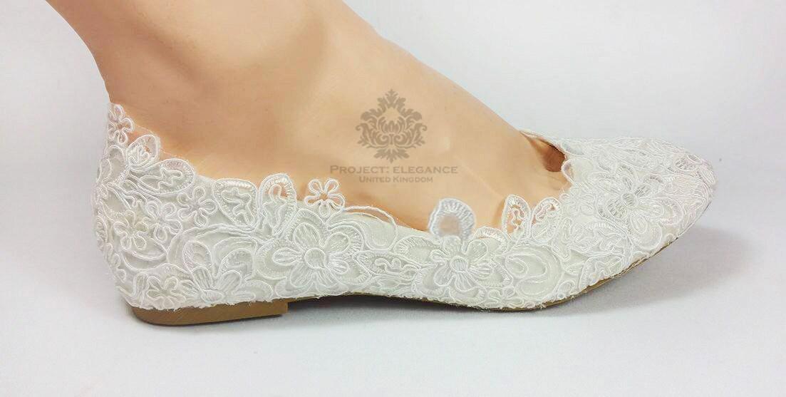Ivory Lace Ballerinas Open Peep Toed Flat Shoes Wedding