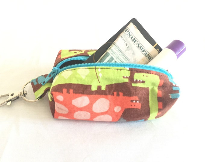 Zippered Keychain Pouch, Coin Purse, Card Holder, Tissue holder, Dog walking bag, Dinosaur lipbalm holder, Dog poop bag holder, Gift card ho