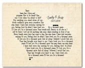 Canvas Customized Anniversary, Wedding, Valentines Gift - wedding lyric, vows print - Personalized gift for couple - heart wall art