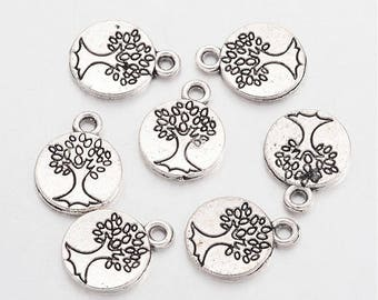 Tree Charms Silver Tree Charms Stamped Tree Charms Tree Tags Tree of Life Charms Engraved Tree Charms Wholesale Charms BULK Charms 50 pieces