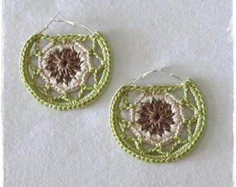 Crochet Hoop Earrings-Dreamcatcher Earrings-Mandala Hoop Earrings-Crochet Jewelry-Hippie Boho Jewelry