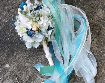 Seashell Tiffany Blue Ivory Pom Wand Custom Order