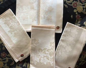 Four Vintage Damask Napkins