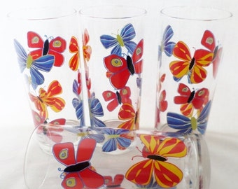 ON SALE Ocean Thailand, Glassware, Barware, Butterflies, Vintage, Groovy, Mod, Orange, Yellow, Blue, Red, Green, Set of Four, Made in Thaila