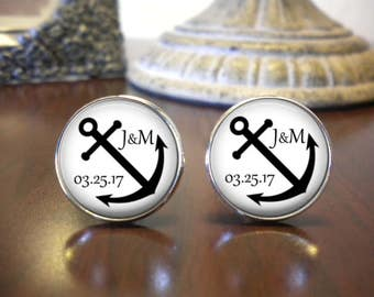 SALE! Personalized Anchor Cufflinks - Gift for Groom - Gift for Groomsman