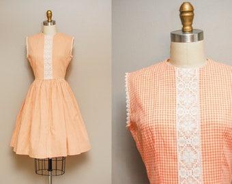 Vintage 1950s Dress / 50s Cotton Orange Gingham Day Dress / Sleeveless / Medium
