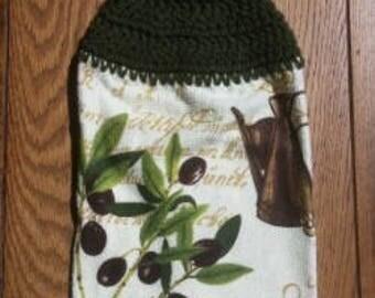 Crochet Top Towel, Hanging Hand Towel, Kitchen Towel, Dish Towel, Coffee Towel, Olive Themed Towel