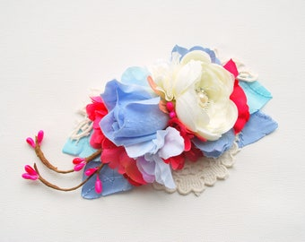 Serenity Blue Pink White Rose Bridal Flower Hair Comb Sash, Spring Weddings Hair Accessories, Blue Pink Bridal Sash Belt, Photo Prop, Prom
