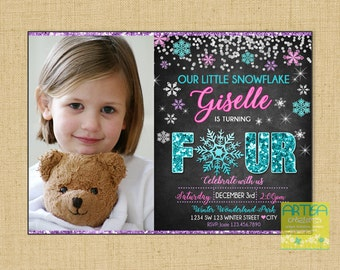 4th Birthday invitation, Little Snowflake Birthday Invitation, Winter Birthday invitation, Snowflake 4 years old Invitation, Winter 4th invi