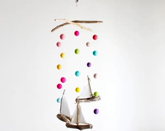 Driftwood Sailboat Mobile with Felt Balls -- Felt Poms 2 cm to 3 cm -- Rustic Wooden Nursery -- Baby Girl's Boats Mobile -- Ready to Ship