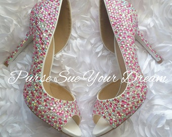 Custom Swarovski Crystal Wedding Heels - Rhinestone Wedding Shoes - Bridal Party Shoes