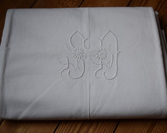 Antique French white cotton monogrammed sheet handstitched SD
