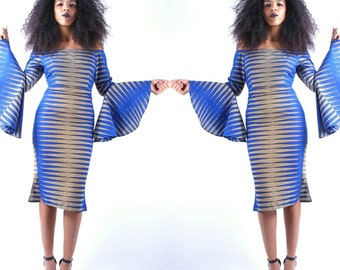 Nkrumah's Blue Off The Shoulder Pencil Dress - SM - XXL
