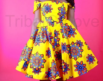 ADE - African Ankara Wax Print Dress Yellow Flower SM-XXL