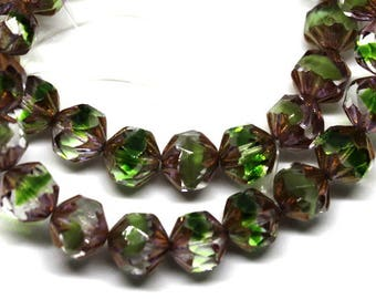6 Authentic Czech Faceted Twist Picasso Green/Clear Beads