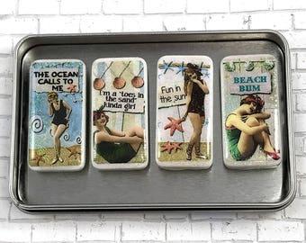 Beach Magnet Set, Retro Beach Ladies, Vintage Women, Domino Magnets, Magnet Set, Gift Set, Beach Quotes, Beach Bum, Fun in the Sun