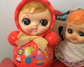 Cute vintage retro RED Roly Poly Doll from Japan