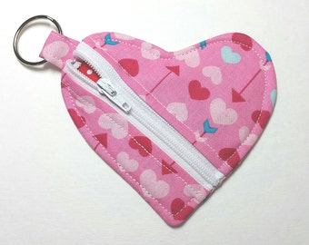 Heart Shaped Coin Purse Zipper Pouch Hearts & Arrows/HeartsPouch/PinkHeartShapedPrint/PinkHeartsPouch/Pouch/HeartsCoinPurse/GirlsHeartPouch