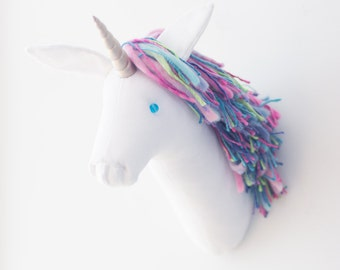 unicorn Faux taxidermy head White wall decor Hunting Trophy animal head, rainbow unicorn