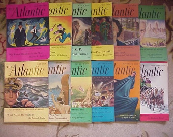 Full Year 1950 The Atlantic Monthly Magazines January - December published By Atlantic Monthly Boston, Antique Magazines with lots of Ads
