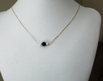 Lapis lazuli and freshwater pearl pendant on sterling silver chain